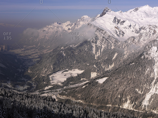 Snowy mountainsides in winter