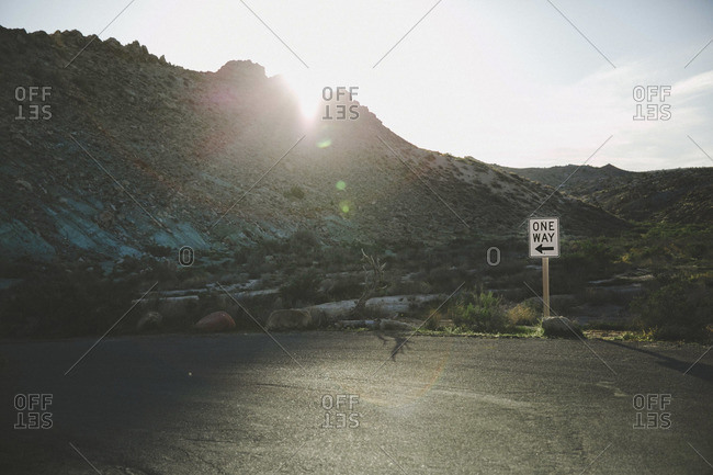 A One Way sign on a desert road