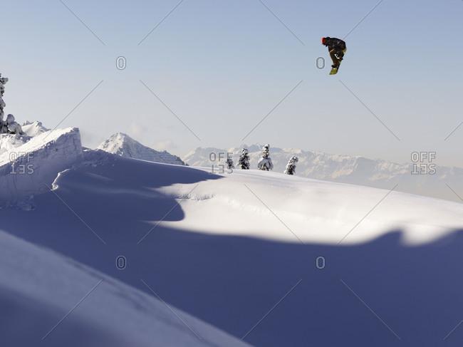 Snowboard mid air