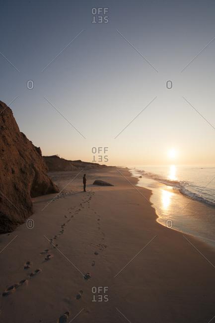 Man watching sunrise on Lucy Vincent beach on Martha's Vineyard