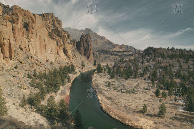 Jagged rock formations and cliffs along the Crooked River, Smith Rock State Park, Oregon