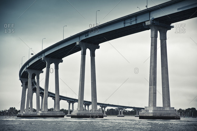 Close-up of a curved section of the San Diego-Coronado Bridge