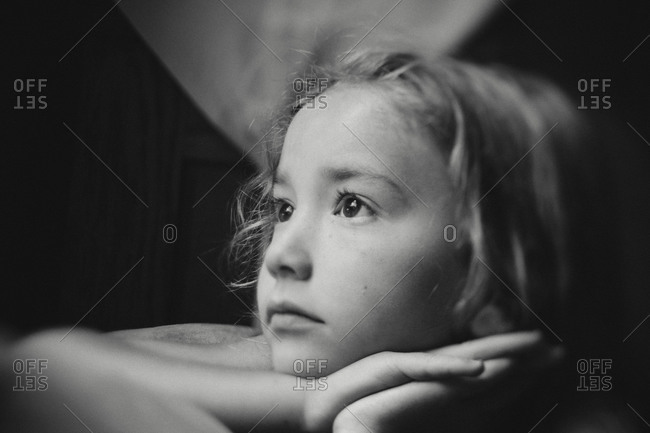Girl looking out the window