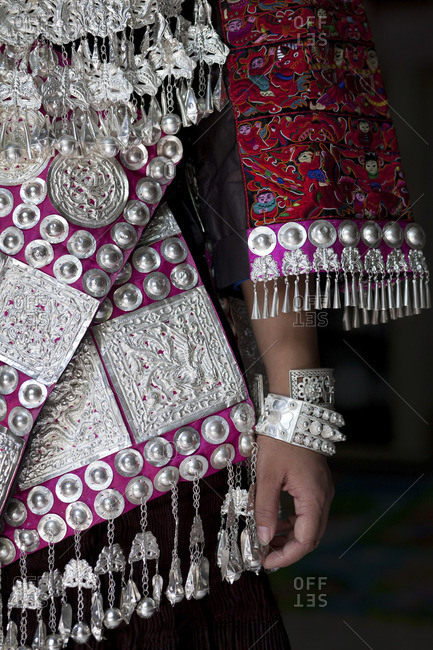 Clothing and Jewelry on a minority woman in Guizhou, China