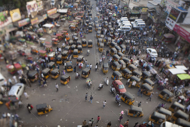 Traffic in busy street in Hydrerbad, India