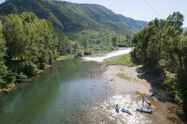 River View with Canoeists in Lozere, France