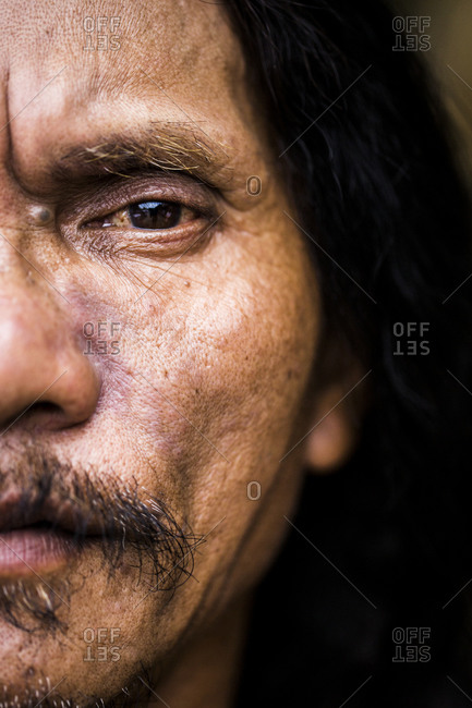 Pampanga, Philippines - April 17, 2014: A portrait of Ruben Enaje, who has been playing the role of Jesus Christ during the Holy Week festival in Cutud since 1985. Every year, Ruben nails himself to a cross to atone for his sins and ask God for blessings in the years to come.