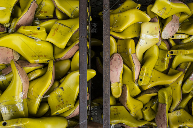 Binh Duong, Vietnam - December 9, 2013: Bins of shoe molds at the Lien Phat factory in Binh Duong province in southern Vietnam.