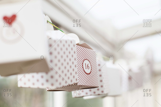 Decoration of boxes hanging in house