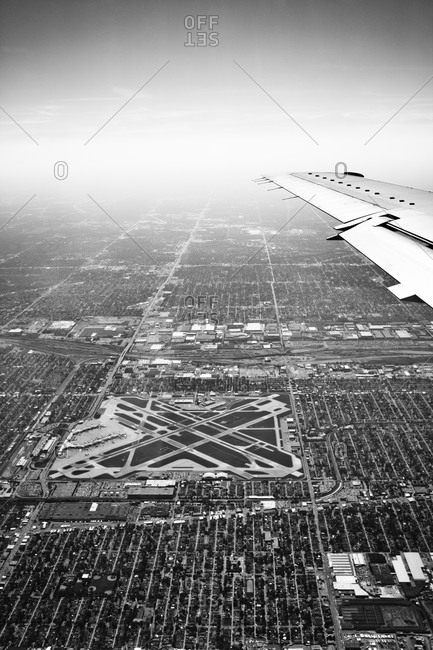 Aerial view of airport in Chicago