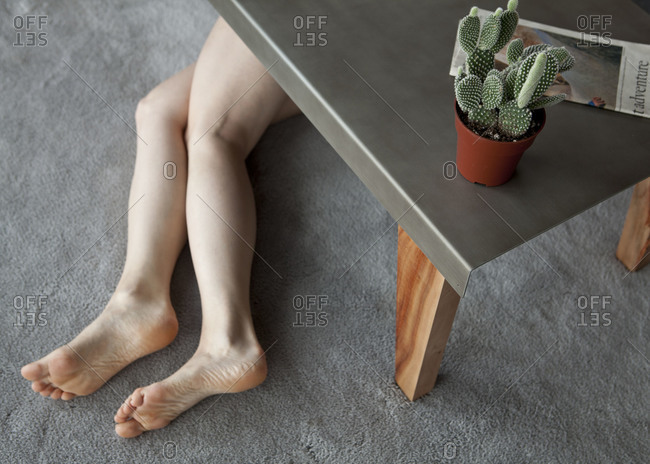 Woman lying on a floor
