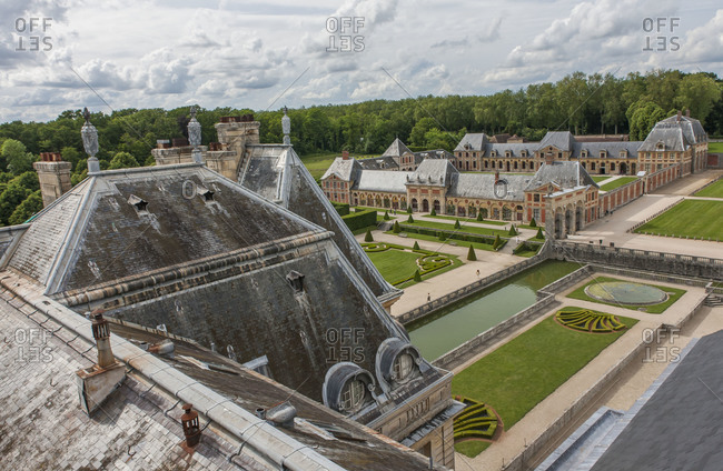 Maincy, France - May 25,2008: Rooftop of Chateau de Vaux le Vicomte looking over the gardens