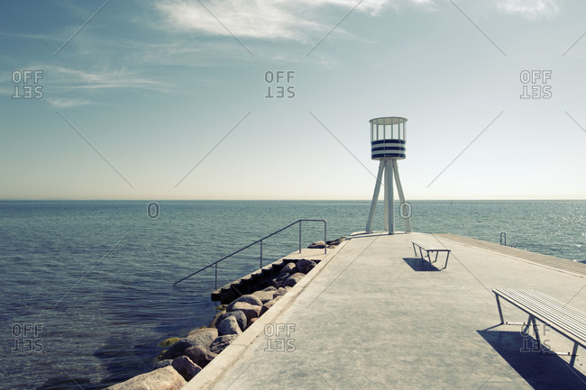 Lifeguard tower on Bellevue Beach in Copenhagen