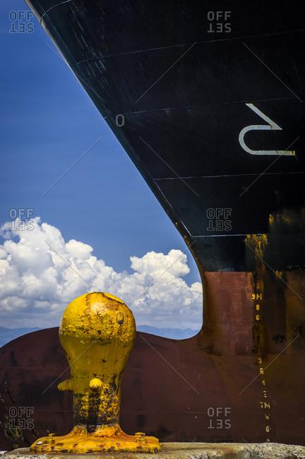 Bow of a ship at dock