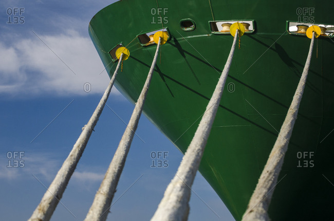 Bow of a green ship