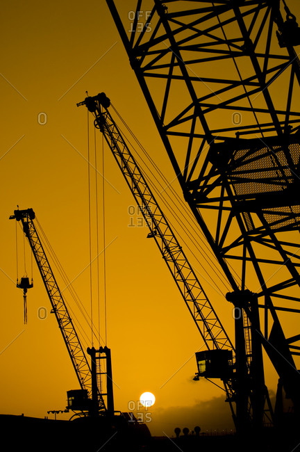 Silhouette of cranes in a shipyard