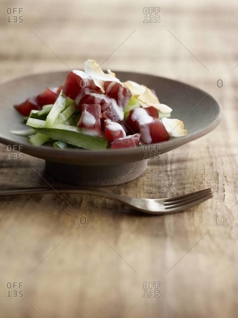 Tuna sashimi served on table