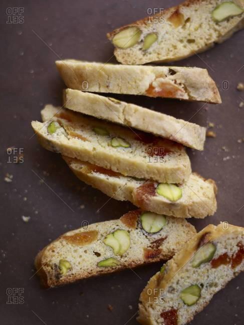 Apricot and pistachio cornmeal biscotti
