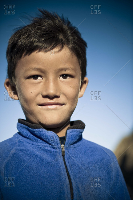 Portrait of a young Nepali boy.