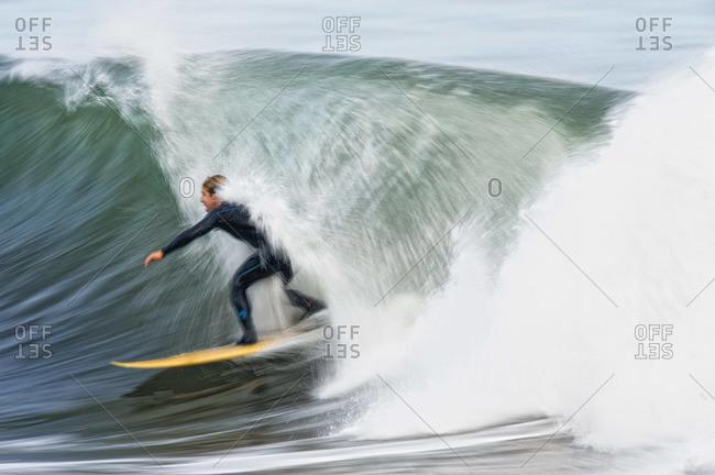 Surfing Campus Point in Santa Barbara, California.