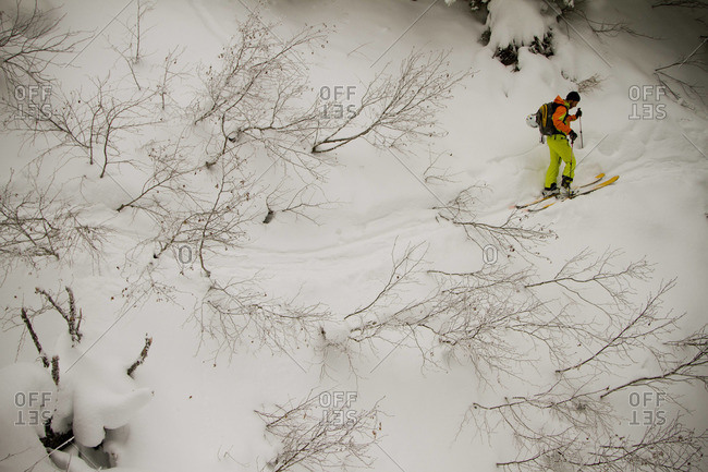 A brightly colored skier hikes along a slope in the middle of winter.