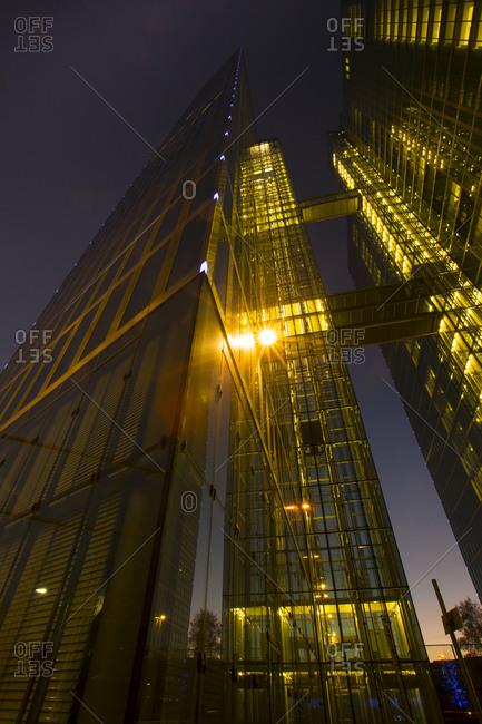 Germany, Bavaria, Munich, Highlight Towers at night