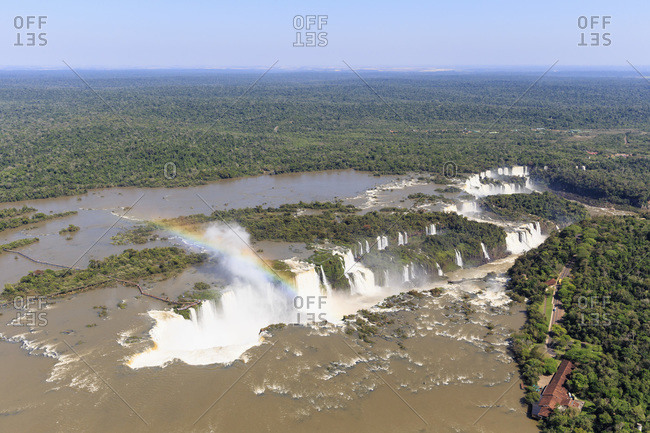 South America, Brasilia, Parana, Iguazu National Park, Iguazu Falls and rainbow