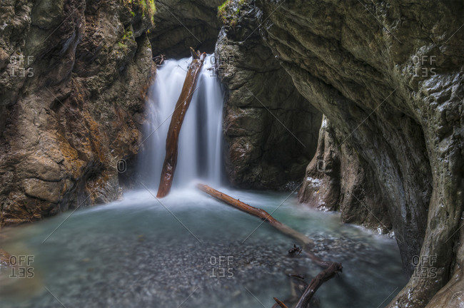 Waterfall in the Wolfs Gorge near Stans, Tyrol, Austria