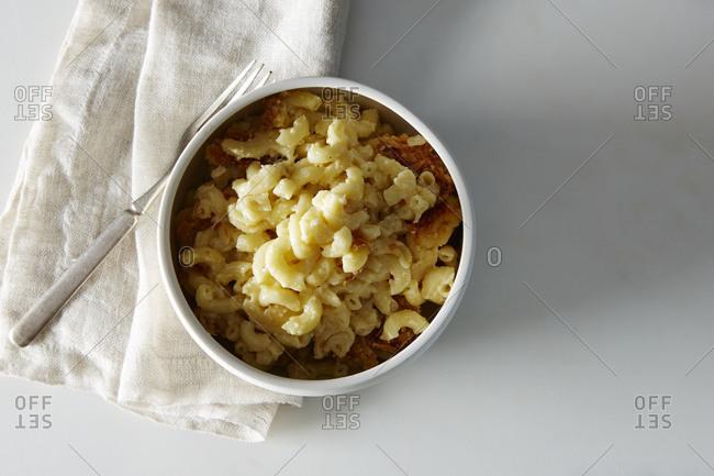 Macaroni and cheese served in a ramekin