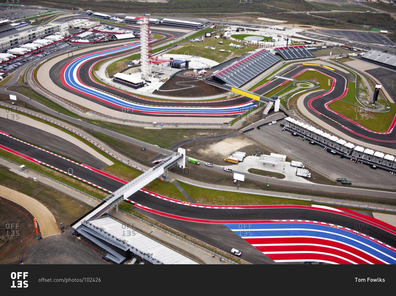 Austin, Texas - November 15, 2012: Aerial view of Circuit of the Americas, Formula 1 car racing ...