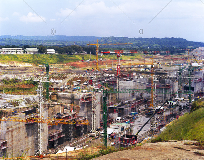 Construction at the Panama Canal Expansion on the Caribbean side at the Gatun Locks