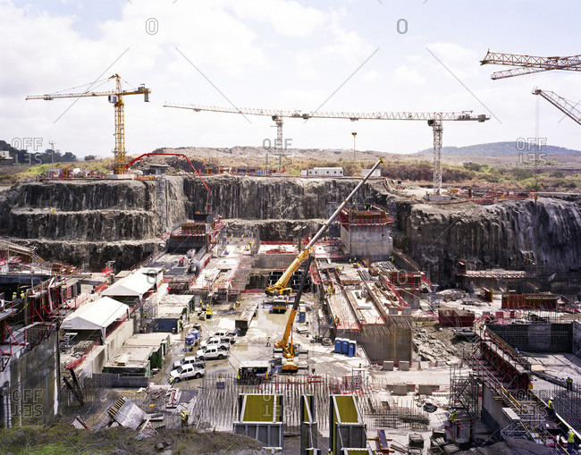 Construction at the Panama Canal Expansion on the Pacific side near the Miraflores Locks