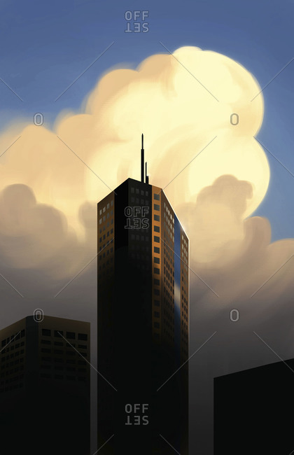 Giant cloud creeping up behind tall building
