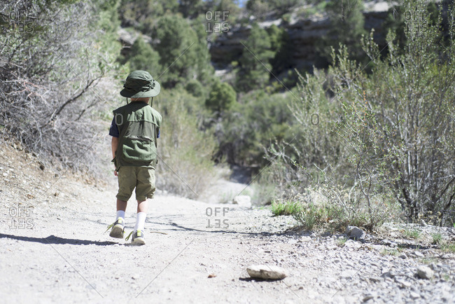 Boy hiking in nature