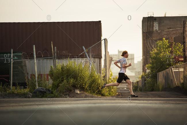 Man running on a street