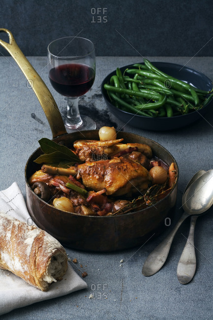 Roasted chicken with pancetta and vegetables