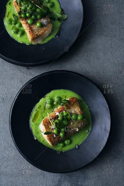 Sander filet with sugar snap pea puree