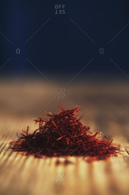 Close up of a pile of saffron