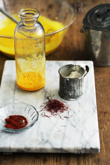 Ingredients for saffron pancakes