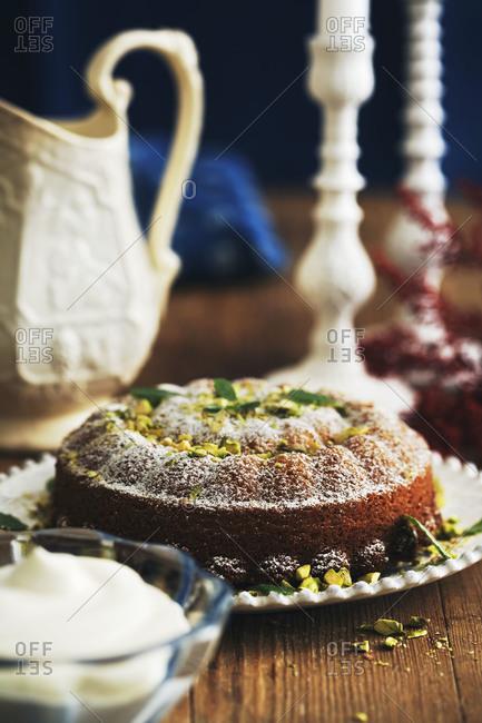 Pistachio bundt cake with saffron