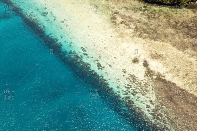 Aerial view of coral reef, Oceania, Palau, Pacific Ocean