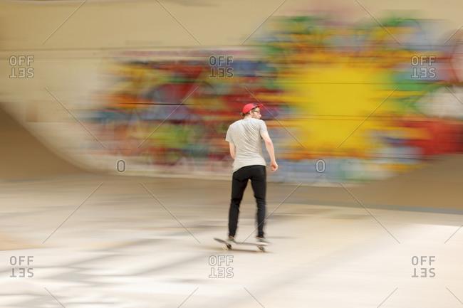 Skate boarder at skateboard ground