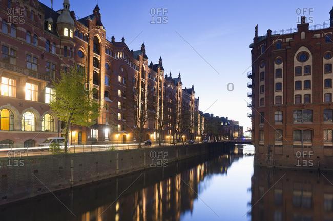 Hafencity with Elbphilharmonie at night