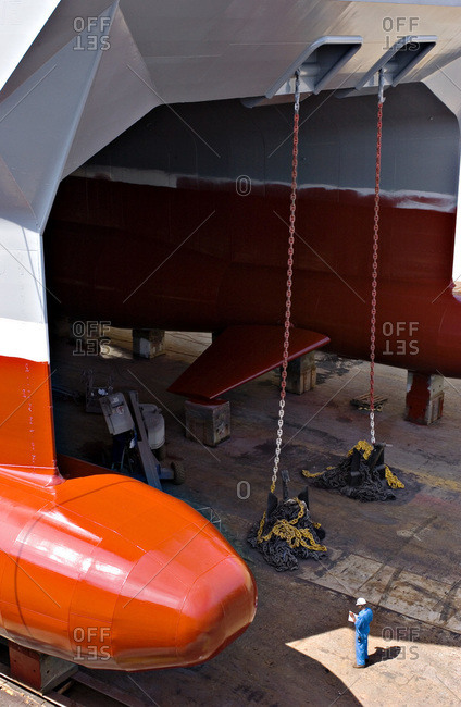 A vessel in dry dock undergoing repairs in San Francisco, Usa
