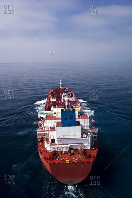 Cargo ship sails off the coast of Long Beach, California