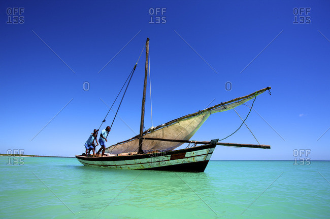 Indian Ocean, Mozambique, Africa - May 6, 2011: Dhow on the Indian Ocean off Mozambique, Africa