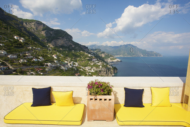 View of the Amalfi coast from a terrace, Italy