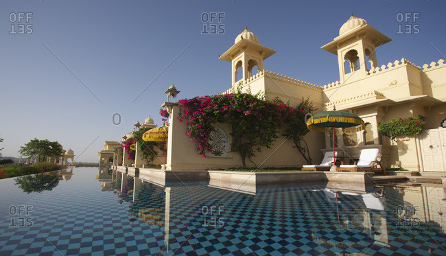 Swimming pool at a resort in Udaipur, Rajasthan, India