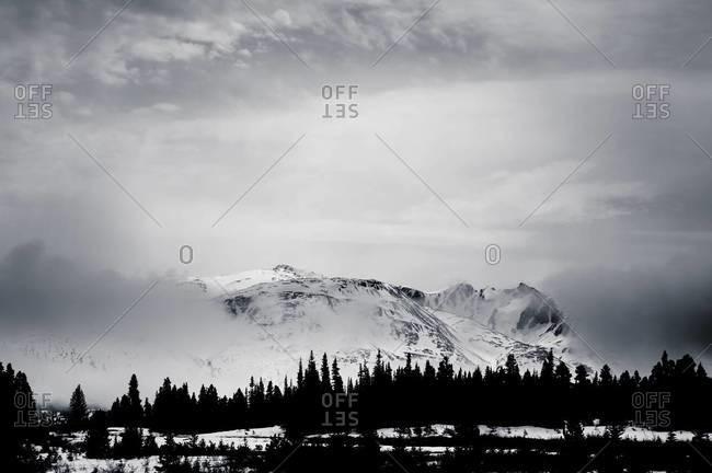Misty mountains in Yukon