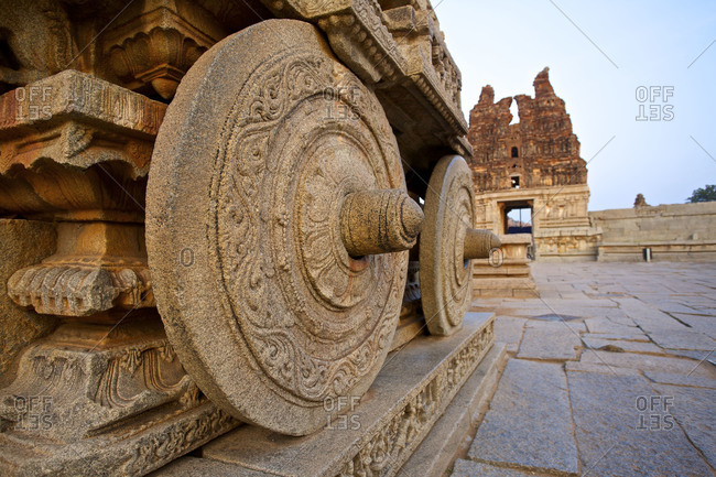 Golden Chariot Carved Out Of Granite At Vitthala Temple In The Ruins Of Vijayanagar At Hampi On The Deccan Plateau Of Karnataka India